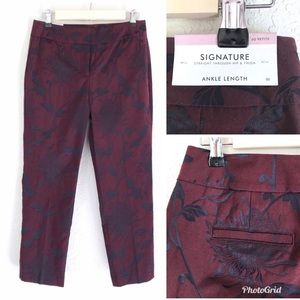 ANN TAYLOR Ankle Pant Maroon Navy Floral Signature